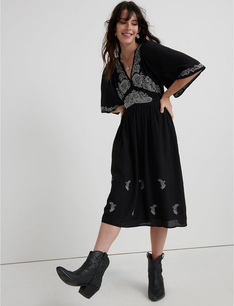 Embroidered Flutter Sleeve Dress - Lucky Black