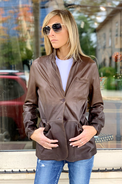 Adele Leather Jacket - Dark Brown