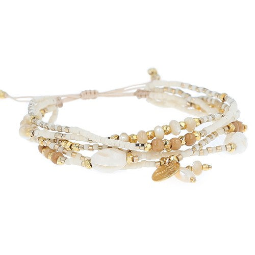 White Bone Mix Adjustable Multi Strand Bracelet