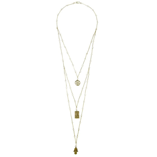 Om Buddha Hamsa Chain Necklace