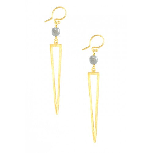 Labradorite Gold Geometric Cut Out Earrings