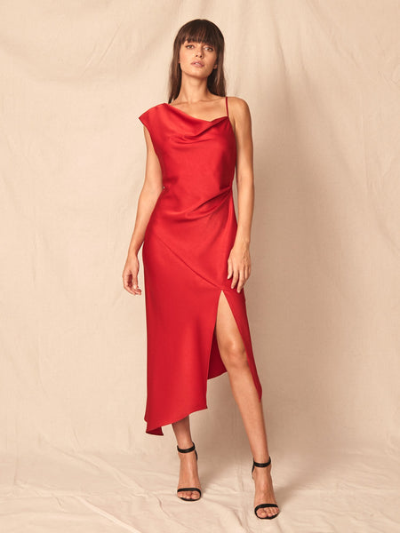 Everly Satin Dress - Red