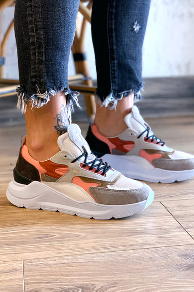 Fuga Nylon Sneakers - Coral Beige Grey