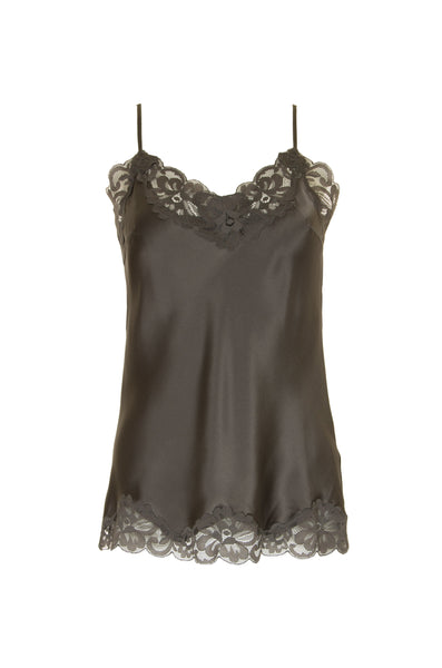 Floral Lace Silk Cami - Steeple Grey