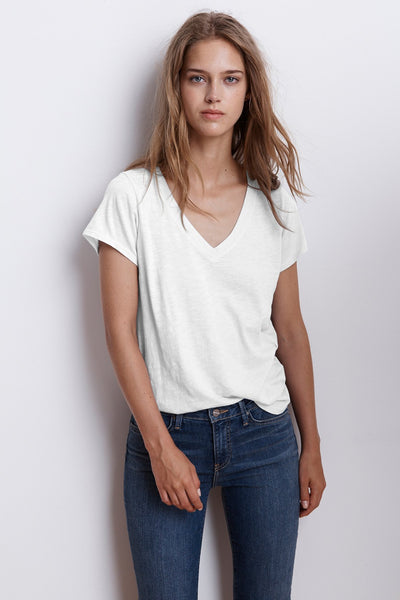 Jilian Original Slub V Neck Tee - White