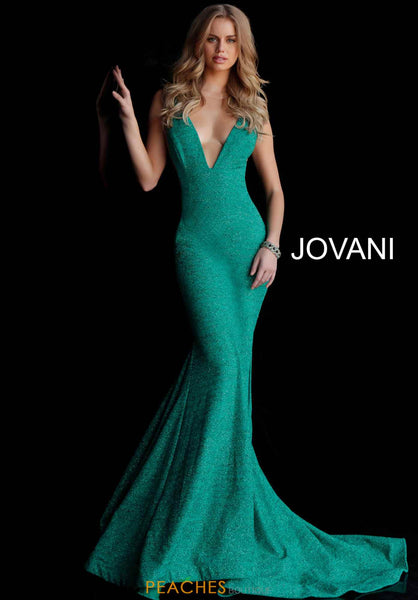 Fitted Plunging Neckline Gown - Jade