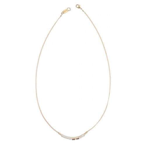 Natural Mix Curved Bar Pendant Necklace