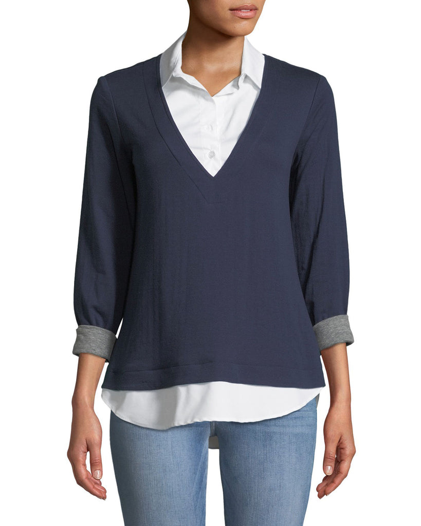 Samantha Popover Top - Navy/White