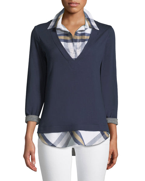 Samantha Popover Top - Plaid