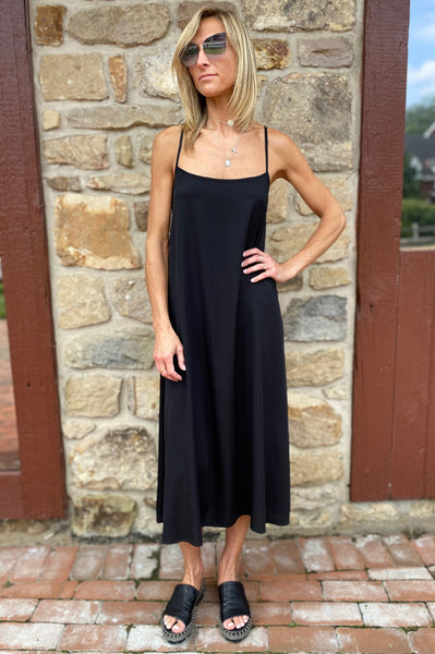 Long Silk Dress - Black