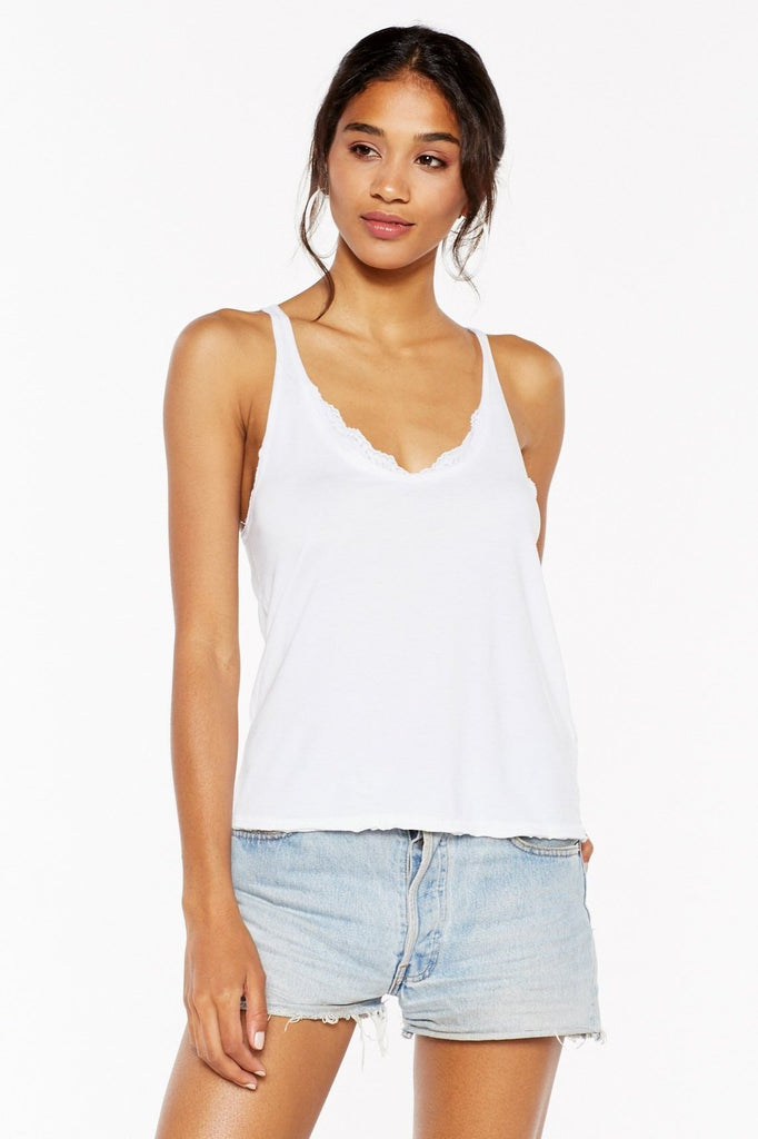 Sweet On You Lace-Trim Scoop Tank - White