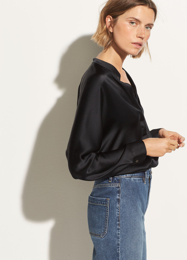 Band Collar Silk Blouse - Black
