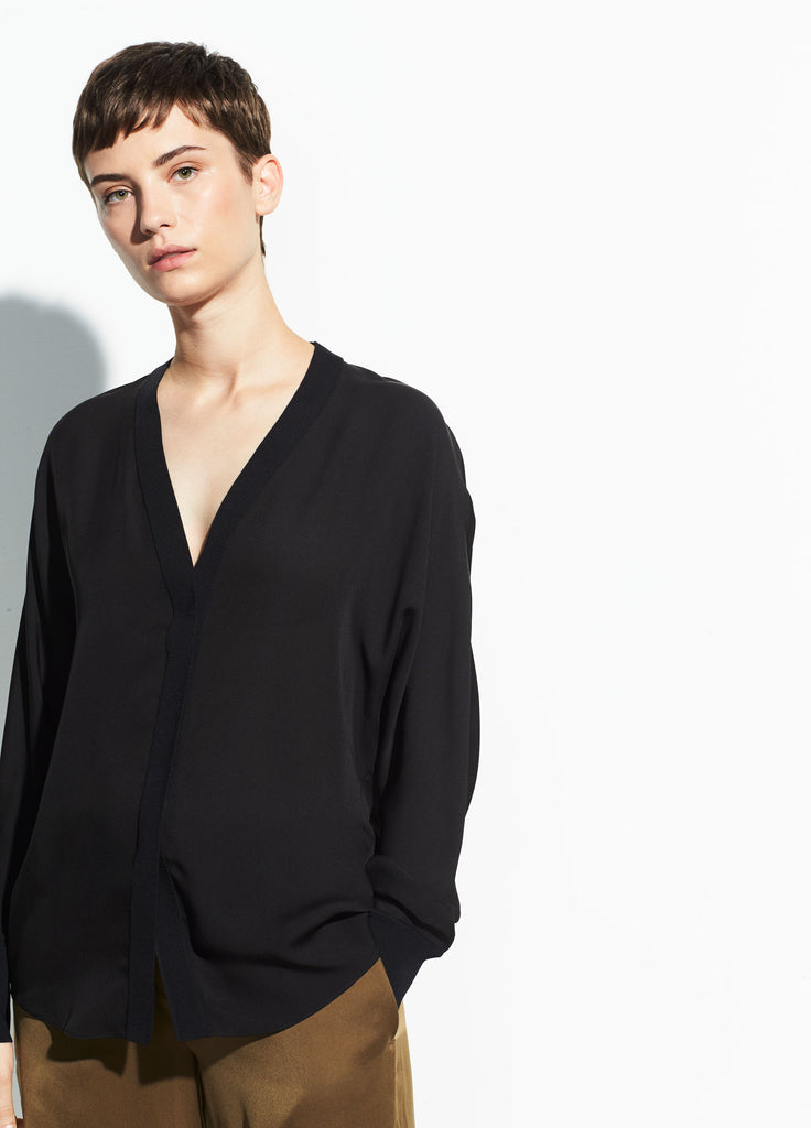 Rib Trim Silk V-Neck Blouse - Black