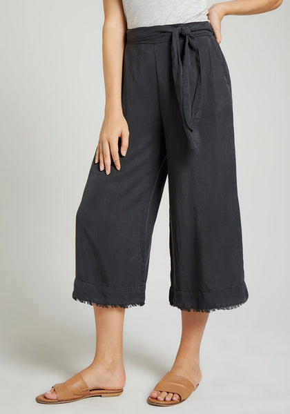 Belted High Waisted Crop Pant - Night Shade
