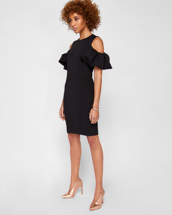 Salnie Dramatic Cold Shoulder Dress - Black