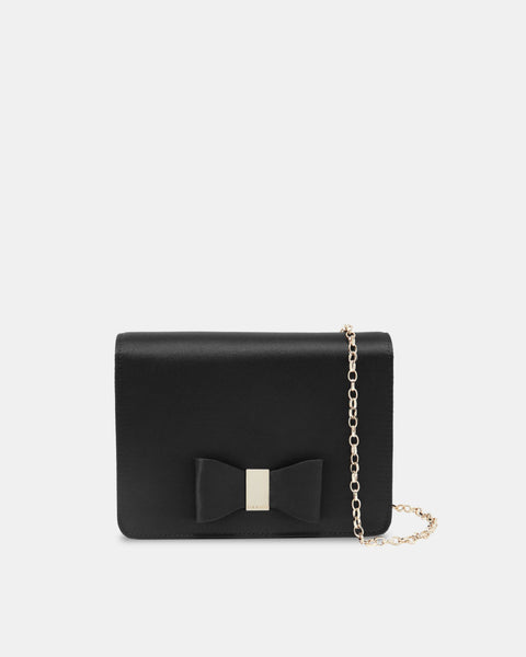 Eveelyn Looped Bow Evening Bag - Black