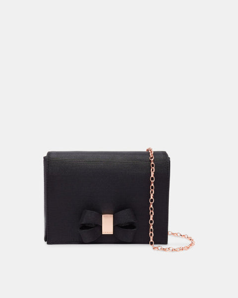 Stacyy Looped Bow Evening Bag - Black