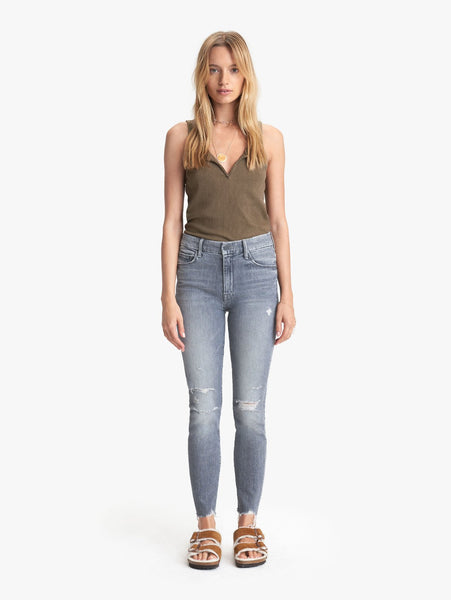 The High Waisted Looker Ankle Nick Fray Denim - Ace of Spades