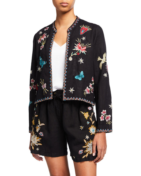 Adara Embroidered Jacket - Black