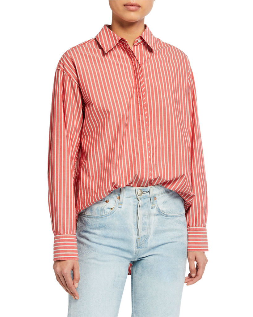 Alina Button Down Shirt - Red Stripe