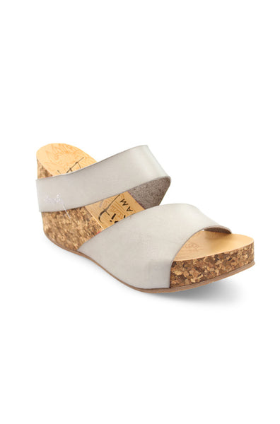 Henri Wedge - Ash Dyecut Faux Leather