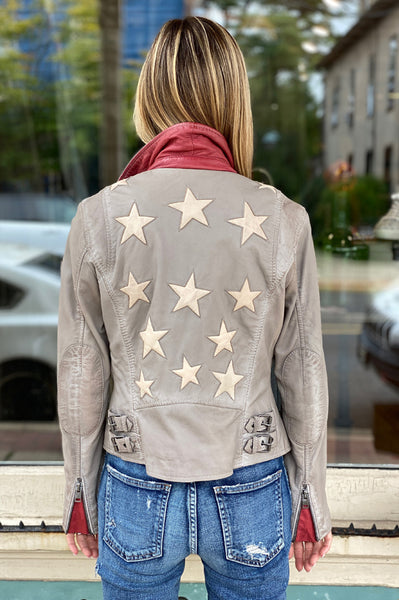 Christy Stars Leather Jacket - Light Grey