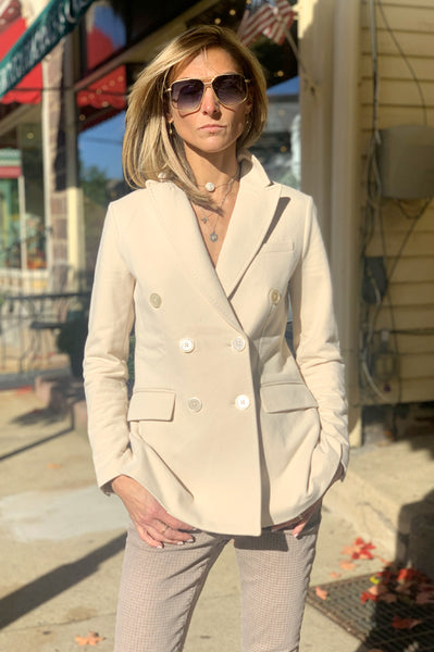 Fitted Double Breasted Blazer - Beige
