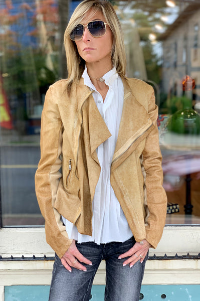 Ria Scale Leather Jacket - Tan