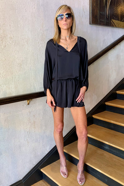 Diane V Neck Romper - Black