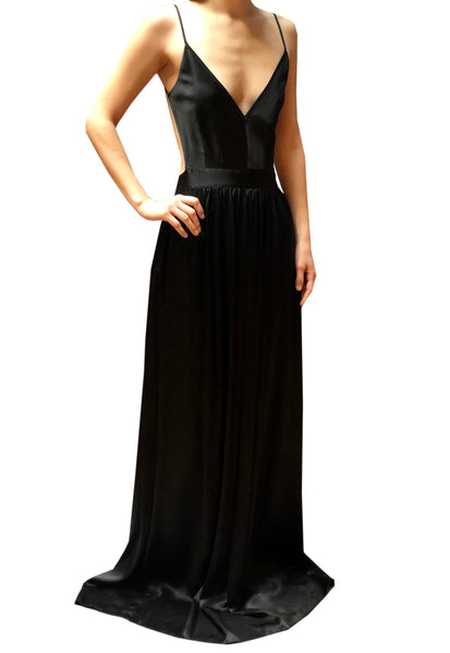 Contrarian Silk Evening Dress - Black