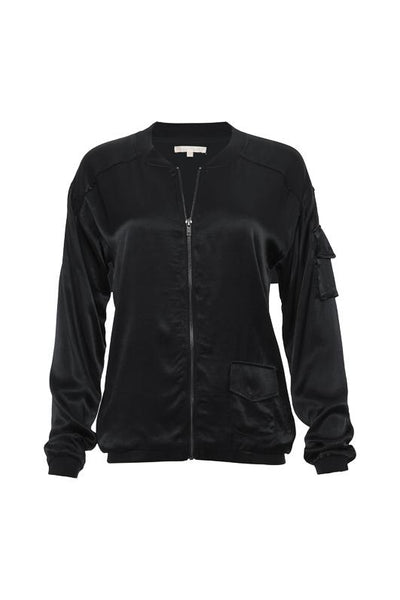 Hayley Silk Bomber Jacket - Black