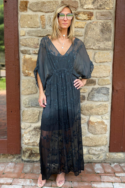 Floaty Cover Up Dress - Black