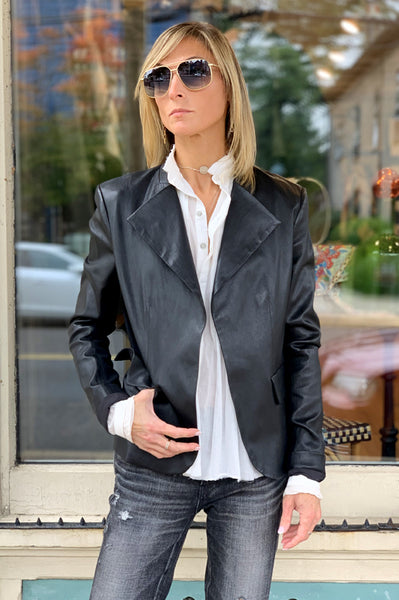 Bristol Peplum Leather Jacket - Black