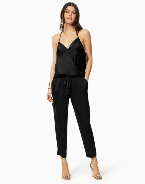 Satin Pocket Allyn Pant - Black