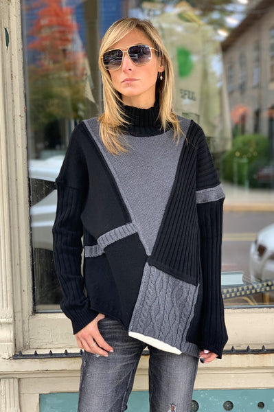 Asymmetrical Sweater - Black