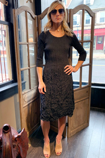 Long Sleeve Crinkle Dress - Black
