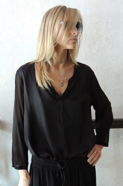 Banded Collar V Neck Blouse - Black