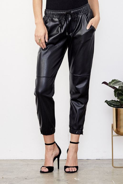 Blake Ankle Vegan Zip Jogger - Black