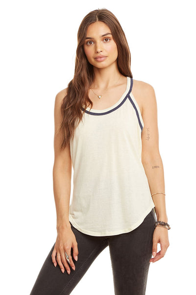 Blocked Jersey T-Back Shirttail Tank - Chick / Sailboat