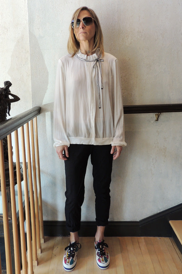 Ribbon Neck Blouse - Off White