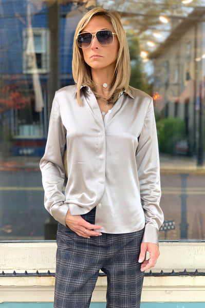 Stretch Satin Fitted Shirt - Grey