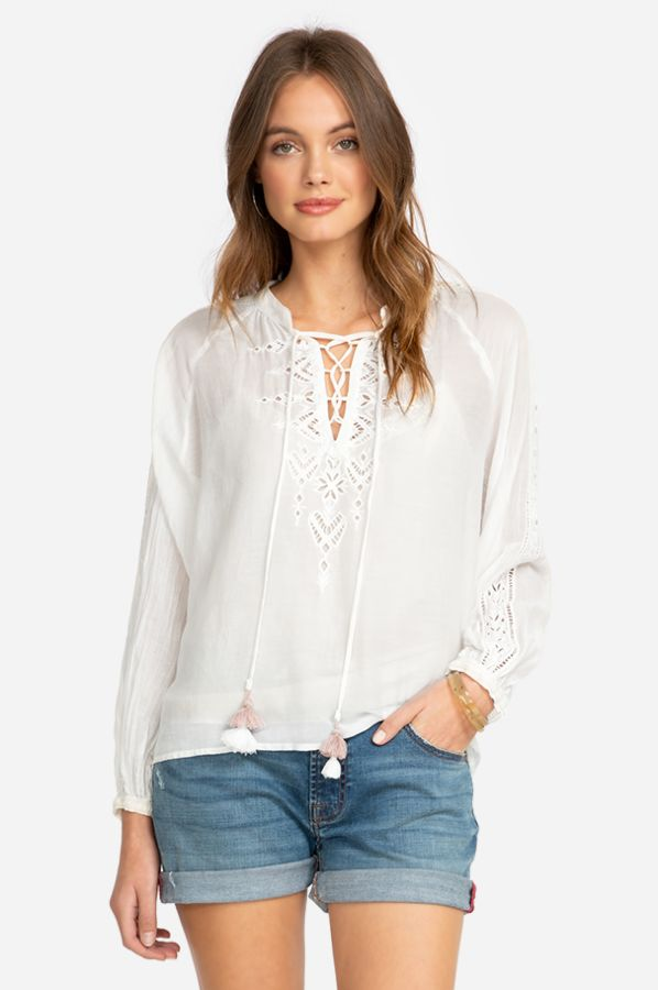 Brigitte Eyelet Peasant Top - Antique White
