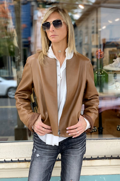Leather Zip Jacket - Saddle