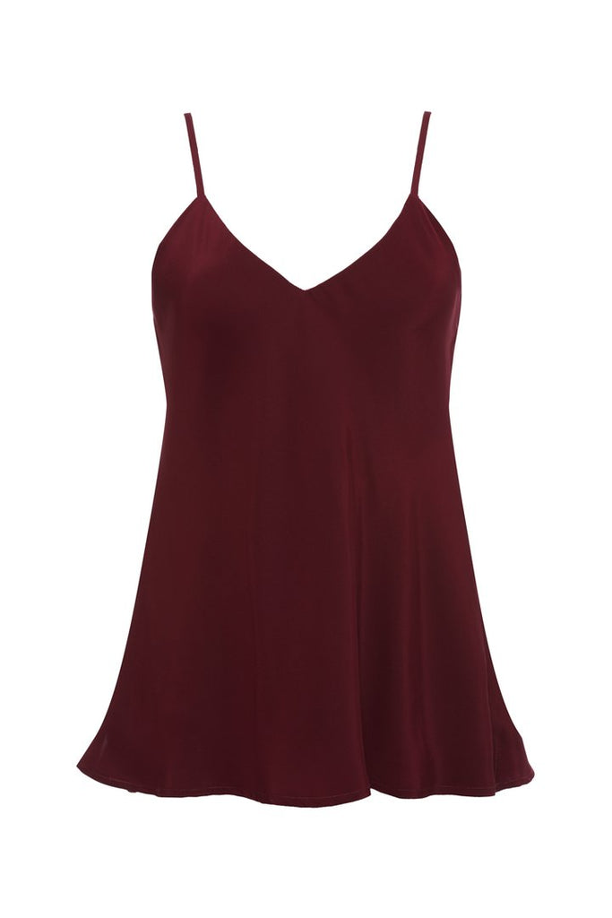 Double Solid Silk Cami - Burgundy