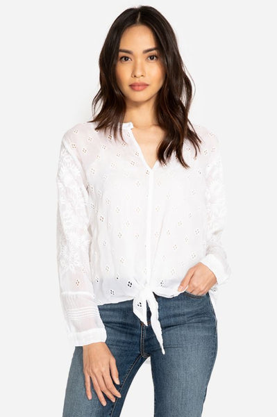 Hunter Tie Front Blouse - White