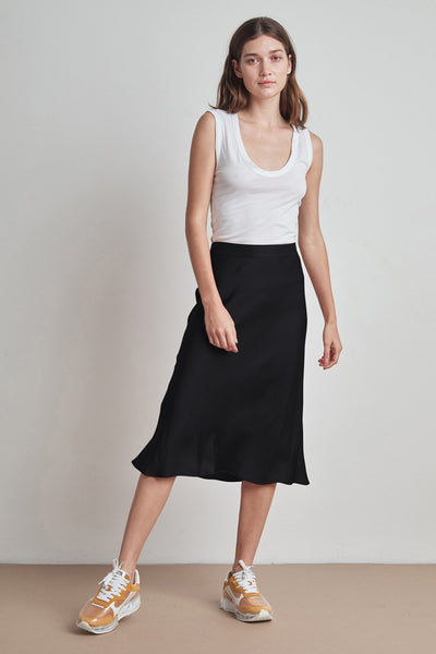 Calissa Satin Midi Skirt - Black