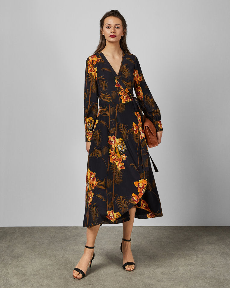 STELA Caramel Printed Wrap Dress - Black
