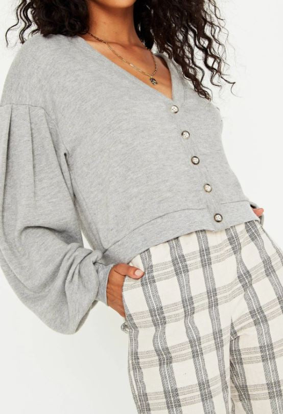 Entice Button Front Cardi - Heather Grey