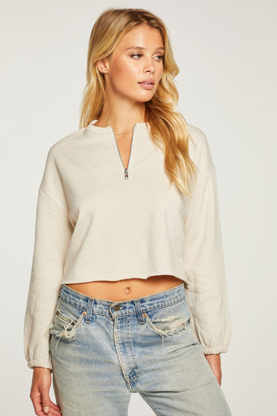 Cashmere Fleece Half Zip Pullover - Sugar Cookie