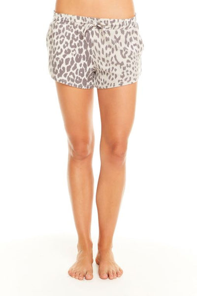 Cozy Knit Drawstring Waist Shorts - Animal Print